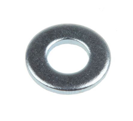 Bright Zinc Plated Steel Plain Washer, 0.8mm Thickness, M4 product photo