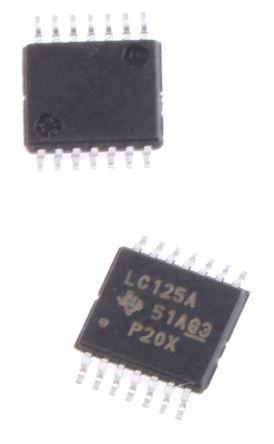 Texas Instruments SN74LVC125APWR, Quad, Quad Bus Buffer, 5.3 ns @ 2.7 V 24mA, 14-Pin TSSOP