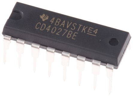 Texas Instruments CD4027BE Dual JK Type Flip Flop IC, 16-Pin PDIP