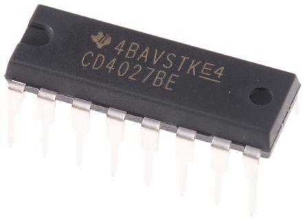 Texas Instruments CD4027BE Dual JK Type Flip Flop IC, 16-Pin PDIP