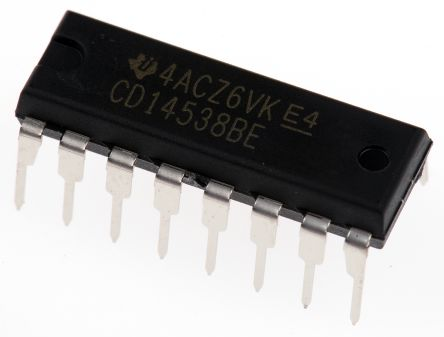 Texas Instruments CD14538BE, Dual Monostable Multivibrator, 16-Pin PDIP