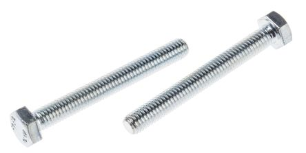 Zinc plated & clear Passivated Steel Hex M6 x 50mm Set Screw