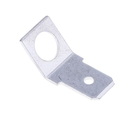 Connector,spade,blade,push on,uninsulated,PCB mount,horizontal,5 dia  fixing,45 deg,6 3mm