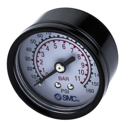 SMC 5K4-10 Analogue Positive Pressure Gauge Back Entry 10bar, Connection Size R 1/4