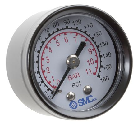 SMC 4K8-10 Analogue Positive Pressure Gauge Back Entry 10bar, Connection Size R 1/8