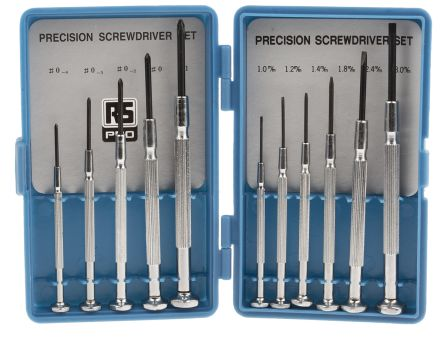 RS PRO Precision Slotted; Phillips Screwdriver Set 11 Piece