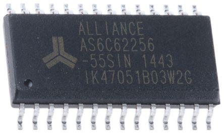 Alliance Memory, AS6C62256-55SIN SRAM Memory, 256kbit, 55ns, 2.7 → 5.5 V SOP 28-Pin