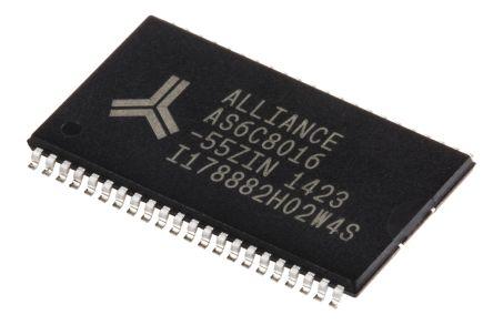 Alliance Memory, AS6C8016-55ZIN SRAM Memory, 8Mbit, 55ns, 2.7 → 5.5 V TSOP 44-Pin