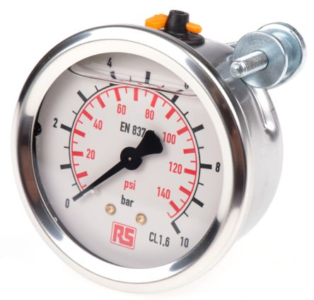 WIKA 9314195 Analogue Positive Pressure Gauge Back Entry 10bar, Connection Size G 1/4