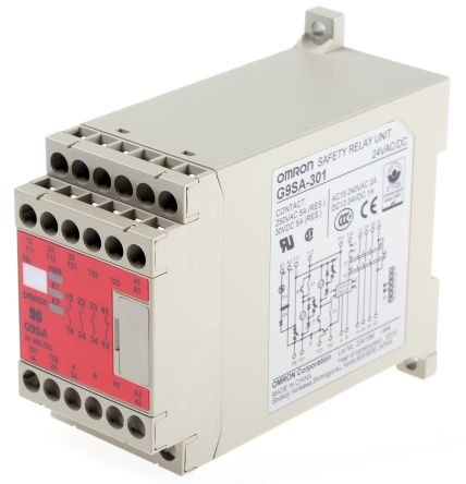 Omron G9SA 24 V ac/dc Safety Relay Single or Dual Channel With 3 Safety on