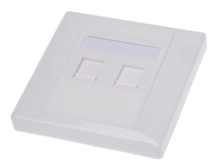 Shuttered face plate 2port white