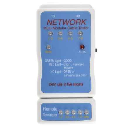RS PRO Network Cable Tester Network Tester RJ11, RJ45