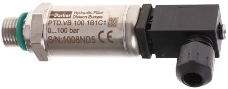 Parker Hydraulic Pressure Sensor PTDVB1001B1C1, Micro DIN, 0 → 5V dc, 0bar to 100bar