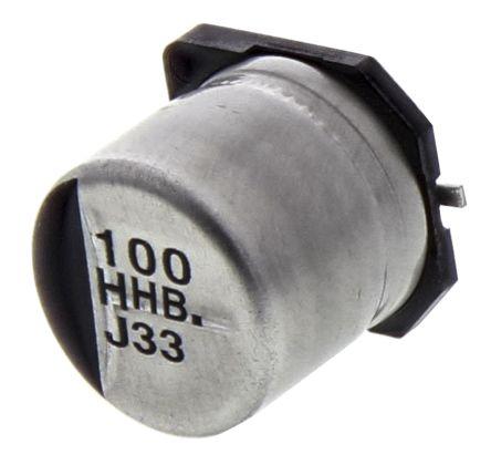 Panasonic 100μF 50V dc Aluminium Electrolytic Capacitor, Surface Mount 10  (Dia ) x 10 2mm +105°C 10mm