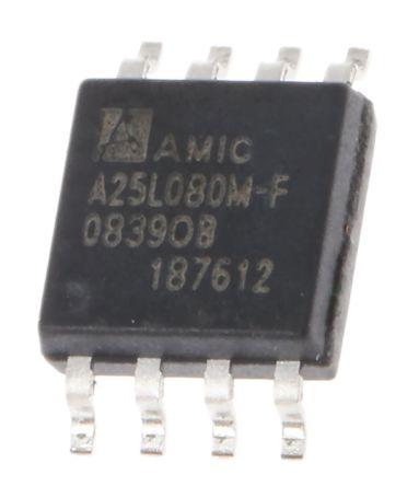 AMIC Technology A25L080M-F, SPI 8Mbit Flash Memory, 8ns; 3V, 8-Pin SOP