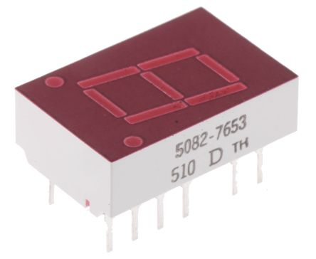 5082-7653-DE000 7-Segment LED Display, CC Red 1.1 mcd RH DP 10.9mm product photo