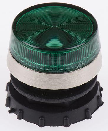 LED Panel Mount Indicator Lens & Lampholder Combination, Green Flat Lens