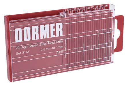Dormer HSS 0.3mm to 1mm, 20 piece Miniature Drill Bit Set