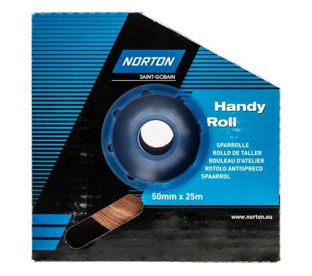Norton Handy Roll Aluminium Oxide Fine Abrasive Cloth Roll, 25m x 50mm