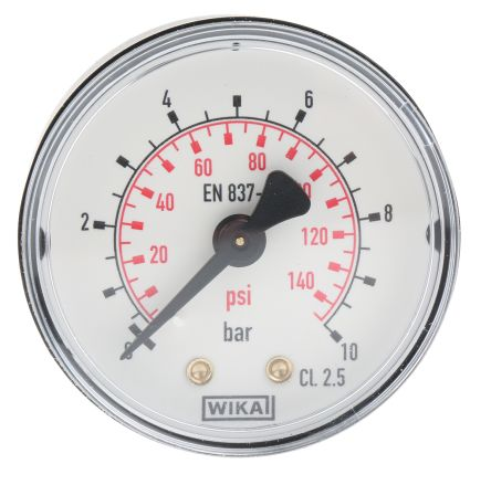 WIKA 8587699 Analogue Positive Pressure Gauge Back Entry 10bar, Connection Size R 1/8