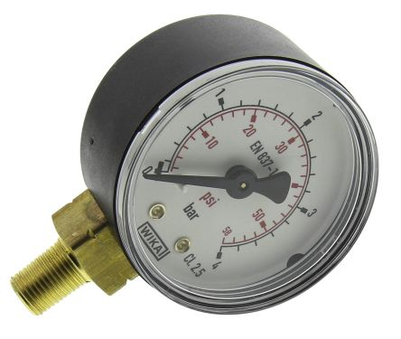 WIKA 8327494 Analogue Positive Pressure Gauge Bottom Entry 4bar, Connection Size R 1/8