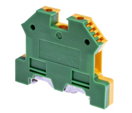 2 Way Top Hat Earth Terminal Block, Screw Down 22 → 11 AWG, 56mm Length, Green/Yellow