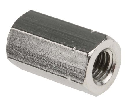 24mm Plain Stainless Steel Coupling Nut, M8, A2 304