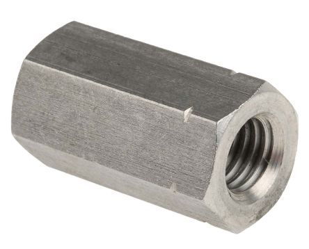 36mm Plain Stainless Steel Coupling Nut, M12, A2 304