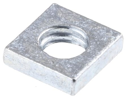 RS PRO, M4 7mm Steel Square Nuts, Bright Zinc Plated Finish