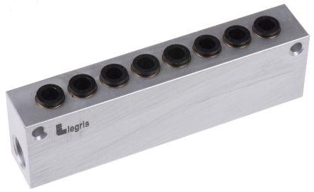 Legris 8 stations G 1/4 Manifold, Aluminium 1/4 in G