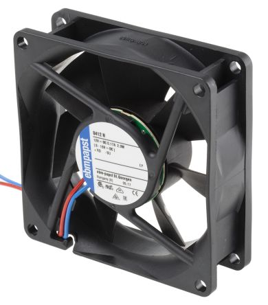 DC Axial Fan, 80 x 80 x 25mm, 69m³/h, 2W, 12 V dc (8400N Series)