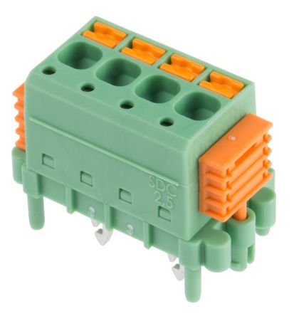 Phoenix Contact SDC 2.5/ 4-PV-5.0-ZB, 4 Way 5mm Pitch PCB Terminal Block