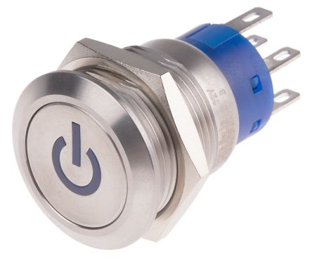 Double Pole Double Throw (DPDT) Latching Blue LED Push Button Switch, IP67,  19 (Dia )mm, Panel Mount, Power Symbol,