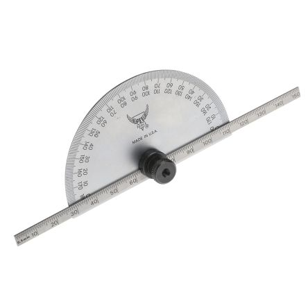 RS PRO Metric Protractor, 180° Range, 150mm Tempered Steel Blade