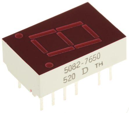 5082-7650 7-Segment LED Display, CA Red 1.1 mcd LH DP 10.9mm product photo