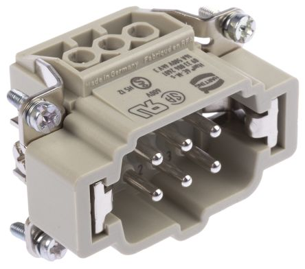 Han E Series size 6 B Connector Insert, Male, 6 Way, 16A, 500 V