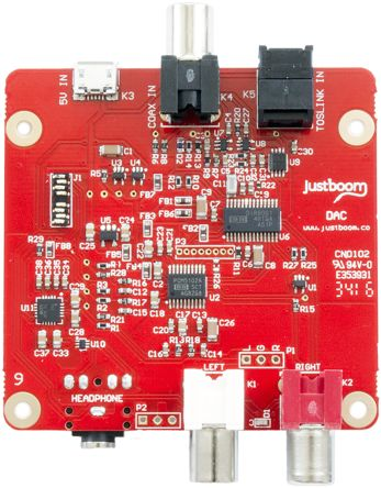 Pi Supply JustBoom DAC JustBoom 24-bit DAC Add On Board for PCM5102A for Raspberry Pi