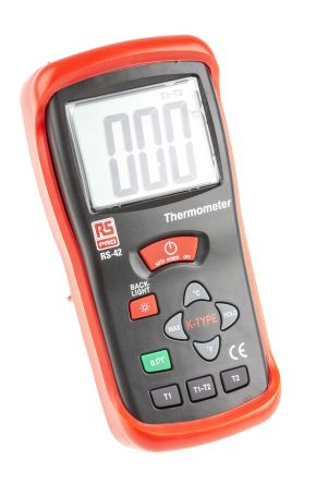 RS PRO RS42 Digital Thermometer, 2 Input Handheld, K Type Input