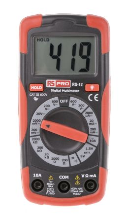 RS Pro RS12 Handheld Digital Multimeter 600V ac 10A dc 600V dc