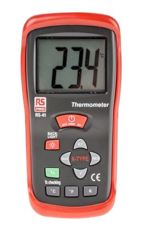 RS PRO RS41 Digital Thermometer, 1 Input Handheld, K Type Input
