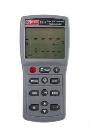 RS PRO 1314 Digital Thermometer, 2 Input Handheld, E, J, K, N, R, S, T Type Input