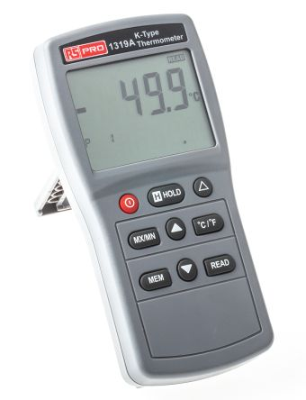 RS PRO 1319A Digital Thermometer, 1 Input Handheld, K Type Input