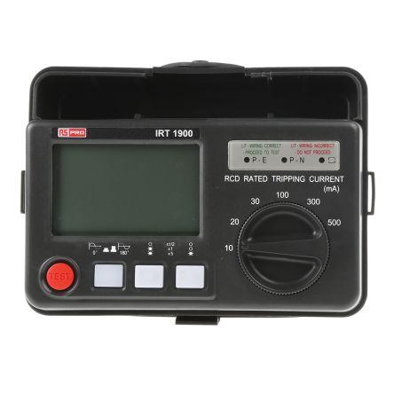 RS PRO IRT1900 Digital RCD Tester 10 mA, 20 mA, 30 mA, 100 mA, 300 mA, 500 mA AC