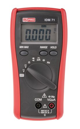 RS Pro IDM71 Handheld Digital Multimeter, 6mA ac 750V ac 6mA dc 1000V dc