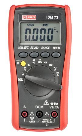 RS PRO IDM73 Handheld Digital Multimeter, 10A ac 750V ac 10A dc 1000V dc 60MΩ