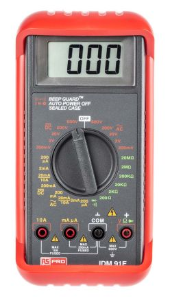RS PRO IDM91E Handheld Digital Multimeter, 10A ac 600V ac 10A dc 600V dc 20MΩ