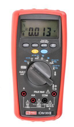 RS Pro IDM99III Handheld Digital Multimeter, 10A ac 1000V ac 10A dc 1000V dc