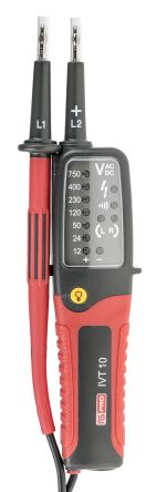 RS PRO IVT-10, LED Voltage tester, 750V ac/dc, Continuity Check, Battery Powered, CAT III 750V