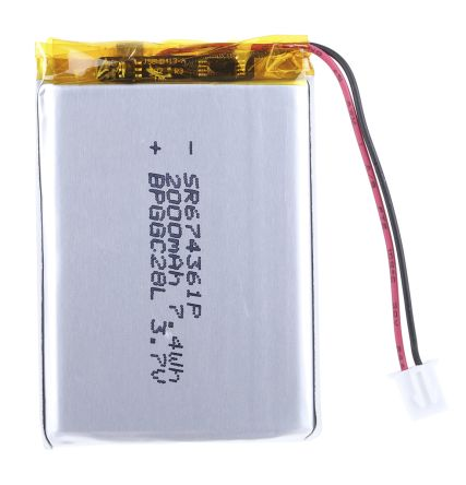RS PRO 3 7V Wire Lead Terminal Lithium Rechargeable Battery, 2Ah
