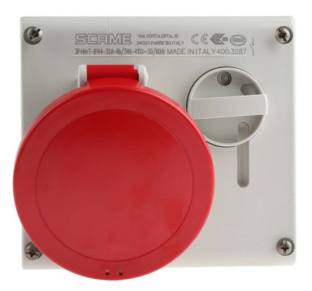 RS PRO Switchable IP44 Industrial Interlock Socket 3P+N+E, Earthing Position 6h, 32A, 400 V